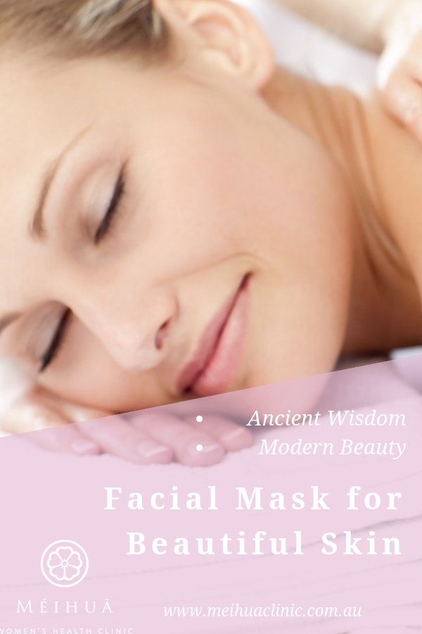 Beautiful facial mask with honeysuckle and rose flowers